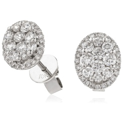 HERCL114 Oval Halo Round cut Cluster Diamond Earrings - white
