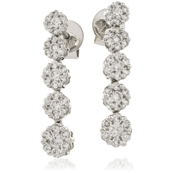 HER219 Five Cluster Journey Diamond Earrings - white