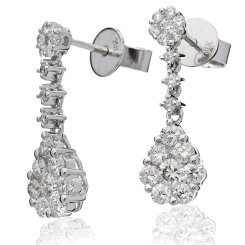 HERCL220 Designer Cluster Drop Diamond Earrings - white