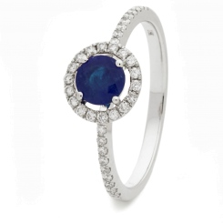 HRRGBS1045 Blue Sapphire & Diamond Shoulder Halo Ring - white