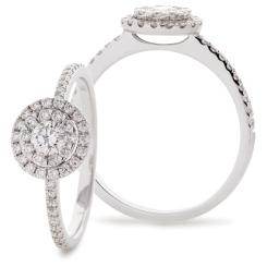 HRRCL910 Round cut Double Halo Cluster Diamond Ring in 18K White Gold - 0.50ct, VS clarity, FG colour - white
