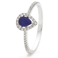 HRPEGBS1053 Pear Shaped Blue Sapphire Shoulder Halo Ring - white