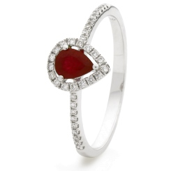 HRPEGRY1054 Pear Shaped Ruby Shoulder Halo Ring - white