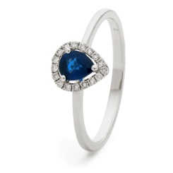 HRPEGBS1051 Pear Shaped Blue Sapphire Halo Gemstone Ring - white