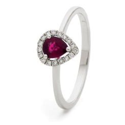 HRPEGRY1052 Pear Shaped Ruby Halo Gemstone Ring - white