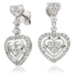 HERCL197 Heart Shape Movable Diamond Earrings - white
