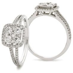 HRRCL901 Split Shank Cushion Halo Round Diamonds Cluster Ring - white