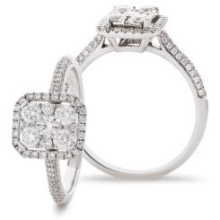 HRRCL902 Emerald cut Shaped Halo Round cut Cluster Diamond Ring - white