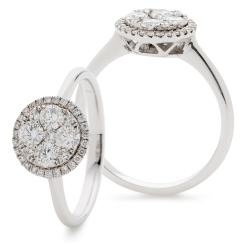 HRRCL903 Round cut Designer Halo Cluster Diamond Ring - white