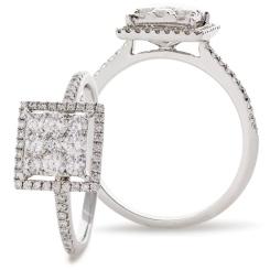 HRRCL904 Square Halo Round cut Cluster Diamond Ring - white