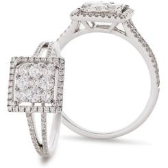 HRRCL905 Split Shank Square Halo Round Diamonds Cluster Ring - white