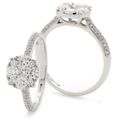 HRRCL915 Triple Shoulder Line Round cut Diamond Cluster Ring - white