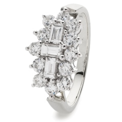 HRBCL887 Baguette and Round cut Boat Cluster Diamond Ring - white