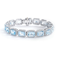 HBEGAQ055 Emerald Shape Aquamarine & Diamond Single Row Bracelet - white