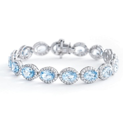 HBOGAQ054 Aquamarine & Diamond Halo Tennis Bracelet - white