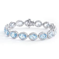 HBOGAQ054 Aquamarine & Diamond Halo Tennis Bracelet - white