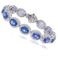 HBOGTZ051 Tanzanite & Diamond Halo Single Line Bracelet - white