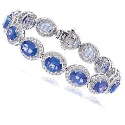 HBOGTZ051 Tanzanite & Diamond Halo Single Line Bracelet - white