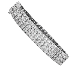 IVANOVIC Triple Row Princess cut Tennis Diamond Bracelet - white