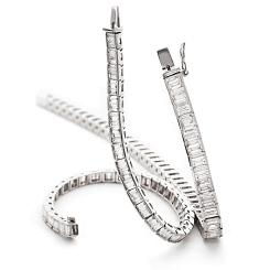 HBP028 Baguette Shape Diamond Line Bracelet - white