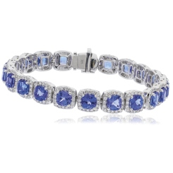 HBPGTZ053 Square Shape Tanzanite & Diamond Single Line Bracelet - white