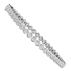 WILLIAMS Round cut Bezel set Diamond Tennis Bracelet - white