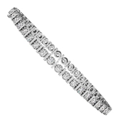KOURNIKOVA Barred Round cut Bezel set Single Line Diamond Bracelet - white