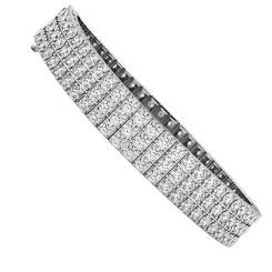 MONICA Triple Row Round cut Tennis Diamond Bracelet - white