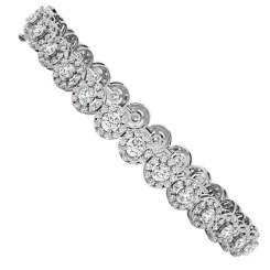 BILLIE Designer Round cut Halo Tennis Diamond Bracelet - white