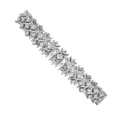 CAROLINE Round cut Crosscourt Tennis Diamond Bracelet - white