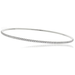 HBRDB057 Round cut Claw Set Diamond Bangle - white