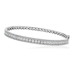 HBRDB064 Micro Pave Channel Set Diamond Bangle - white
