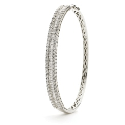 HBRDB065 Baguette & Round Diamond Bangle - white