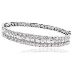 HBRDB066 Baguette & Round Designer Diamond Bangle - white