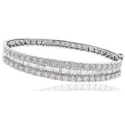 HBRDB066 Baguette & Round Designer Diamond Bangle - white