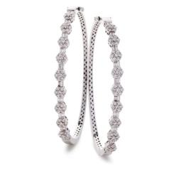 HBRDB068 Baguette & Round cut Cluster Diamond Bangle - white