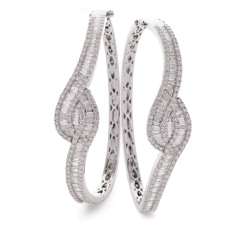 HBRDB069 Baguette & Round cut Twisted Diamond Bangle - white