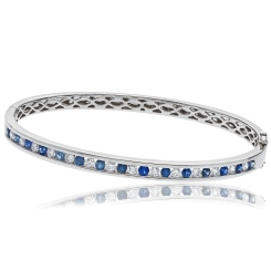 HBRDBGBS070 Blue Sapphire & Diamond Diamond Bangle - white