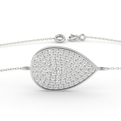 HBRDR020 Tear Drop Designer Diamond Bracelet - white