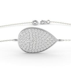 HBRDR020 Tear Drop Designer Diamond Bracelet - white