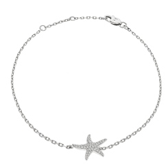 HBRDR030 Star Shape Delicate Diamond Bracelet - white