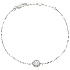 HBRDR032 Designer Halo Delicate Diamond Bracelet - white