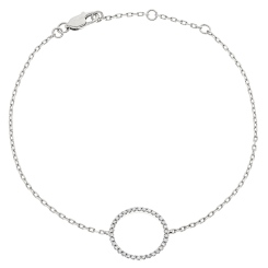HBRDR034 Circle of Life Delicate Diamond Bracelet - white
