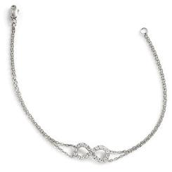 HBRDR035 Infinity Delicate Diamond Bracelet - white