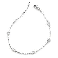 HBRDR036 Multi Charm Delicate Diamond Bracelet - white