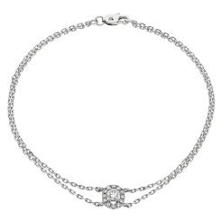 HBRDR038 Round Shape Halo Delicate Diamond Bracelet - white