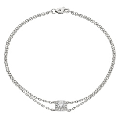 HBRDR039 Square Halo Delicate Diamond Bracelet - white