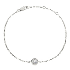 HBRDR041 Brilliant Diamond Bezel Delicate Bracelet - white