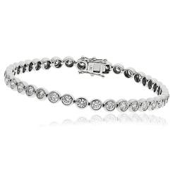 HBRDR044 Bezel Round Cut Diamond Line Bracelet - white
