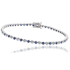 HBRGBS045 Blue Sapphire & Diamond Single Line Bracelet - white